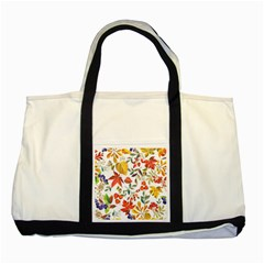 Autumn Flowers Pattern 7 Two Tone Tote Bag