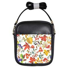 Autumn Flowers Pattern 7 Girls Sling Bags by tarastyle