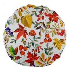 Autumn Flowers Pattern 7 Large 18  Premium Round Cushions by tarastyle