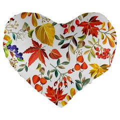 Autumn Flowers Pattern 7 Large 19  Premium Flano Heart Shape Cushions by tarastyle