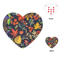 Autumn Flowers Pattern 8 Playing Cards (heart)  by tarastyle