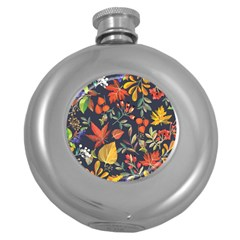 Autumn Flowers Pattern 8 Round Hip Flask (5 Oz) by tarastyle
