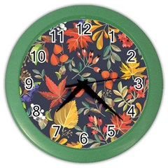 Autumn Flowers Pattern 8 Color Wall Clocks by tarastyle