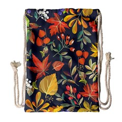 Autumn Flowers Pattern 8 Drawstring Bag (large) by tarastyle
