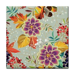 Autumn Flowers Pattern 9 Tile Coasters by tarastyle
