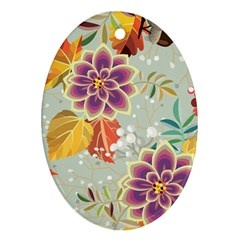 Autumn Flowers Pattern 9 Ornament (oval) by tarastyle