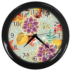 Autumn Flowers Pattern 9 Wall Clocks (black)