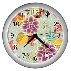 Autumn Flowers Pattern 9 Wall Clocks (silver)  by tarastyle
