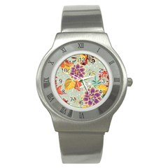 Autumn Flowers Pattern 9 Stainless Steel Watch by tarastyle
