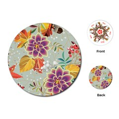 Autumn Flowers Pattern 9 Playing Cards (round)  by tarastyle