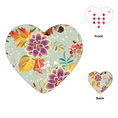 Autumn Flowers Pattern 9 Playing Cards (heart)  by tarastyle