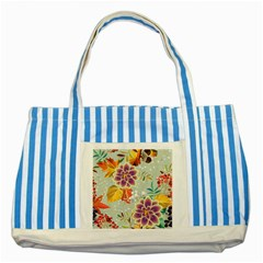 Autumn Flowers Pattern 9 Striped Blue Tote Bag by tarastyle