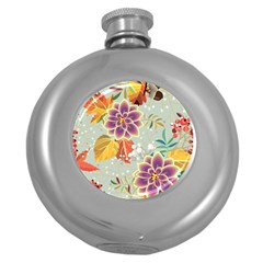 Autumn Flowers Pattern 9 Round Hip Flask (5 Oz) by tarastyle