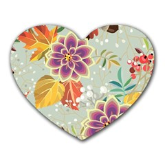 Autumn Flowers Pattern 9 Heart Mousepads by tarastyle