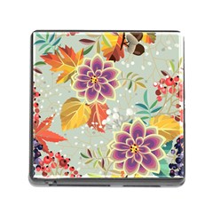Autumn Flowers Pattern 9 Memory Card Reader (square) by tarastyle