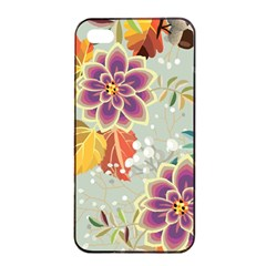 Autumn Flowers Pattern 9 Apple Iphone 4/4s Seamless Case (black) by tarastyle