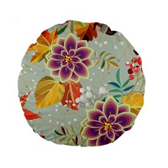 Autumn Flowers Pattern 9 Standard 15  Premium Round Cushions by tarastyle