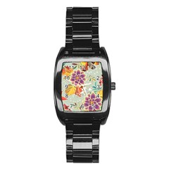 Autumn Flowers Pattern 9 Stainless Steel Barrel Watch by tarastyle