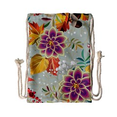 Autumn Flowers Pattern 9 Drawstring Bag (small) by tarastyle