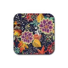 Autumn Flowers Pattern 10 Rubber Square Coaster (4 Pack)  by tarastyle