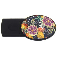 Autumn Flowers Pattern 10 Usb Flash Drive Oval (2 Gb) by tarastyle