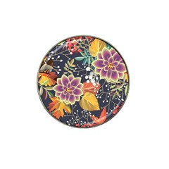 Autumn Flowers Pattern 10 Hat Clip Ball Marker (4 Pack) by tarastyle
