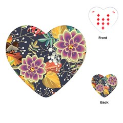 Autumn Flowers Pattern 10 Playing Cards (heart)  by tarastyle