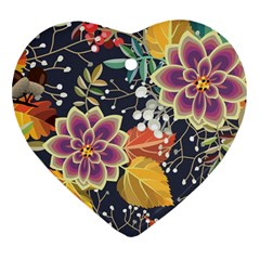 Autumn Flowers Pattern 10 Heart Ornament (two Sides) by tarastyle