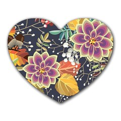 Autumn Flowers Pattern 10 Heart Mousepads by tarastyle