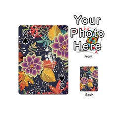 Autumn Flowers Pattern 10 Playing Cards 54 (mini)  by tarastyle