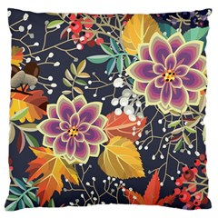 Autumn Flowers Pattern 10 Large Flano Cushion Case (two Sides) by tarastyle