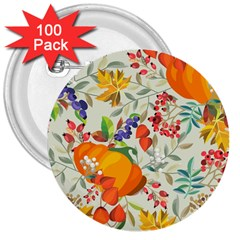 Autumn Flowers Pattern 11 3  Buttons (100 Pack)  by tarastyle
