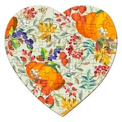 Autumn Flowers Pattern 11 Jigsaw Puzzle (heart) by tarastyle