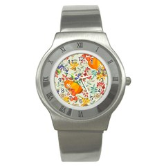Autumn Flowers Pattern 11 Stainless Steel Watch by tarastyle