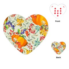 Autumn Flowers Pattern 11 Playing Cards (heart)  by tarastyle