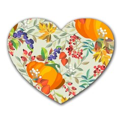 Autumn Flowers Pattern 11 Heart Mousepads by tarastyle