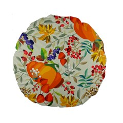 Autumn Flowers Pattern 11 Standard 15  Premium Round Cushions by tarastyle