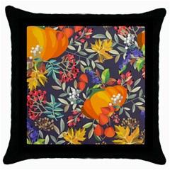 Autumn Flowers Pattern 12 Throw Pillow Case (black) by tarastyle