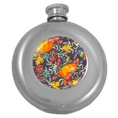 Autumn Flowers Pattern 12 Round Hip Flask (5 Oz) by tarastyle
