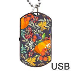 Autumn Flowers Pattern 12 Dog Tag Usb Flash (two Sides) by tarastyle