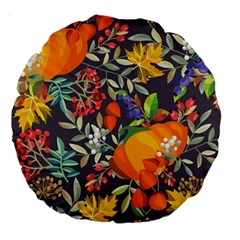 Autumn Flowers Pattern 12 Large 18  Premium Round Cushions by tarastyle