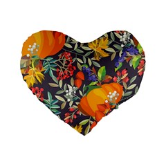 Autumn Flowers Pattern 12 Standard 16  Premium Heart Shape Cushions by tarastyle