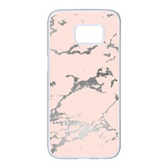 Luxurious Pink Marble 1 Samsung Galaxy S7 Edge White Seamless Case by tarastyle