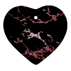 Luxurious Pink Marble 2 Ornament (heart) by tarastyle