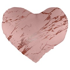 Luxurious Pink Marble 3 Large 19  Premium Heart Shape Cushions by tarastyle