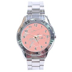 Luxurious Pink Marble 6 Stainless Steel Analogue Watch
