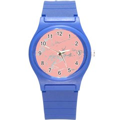 Luxurious Pink Marble 6 Round Plastic Sport Watch (s) by tarastyle