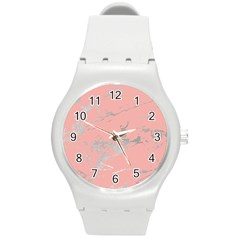 Luxurious Pink Marble 6 Round Plastic Sport Watch (m) by tarastyle