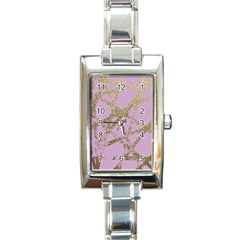 Modern,abstract,hand Painted, Gold Lines, Pink,decorative,contemporary,pattern,elegant,beautiful Rectangle Italian Charm Watch by 8fugoso