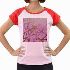 Modern,abstract,hand Painted, Gold Lines, Pink,decorative,contemporary,pattern,elegant,beautiful Women s Cap Sleeve T Shirt by 8fugoso